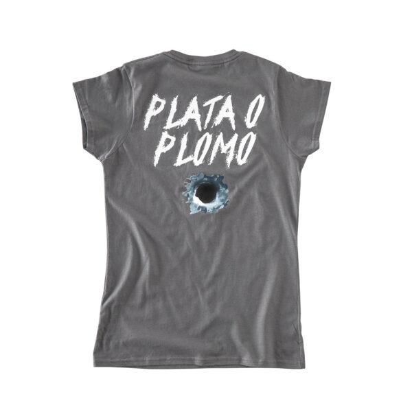 Backside of gray girl's t-shirt